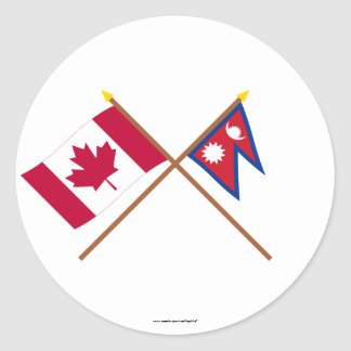 Canada and Nepal Crossed Flags Round Sticker