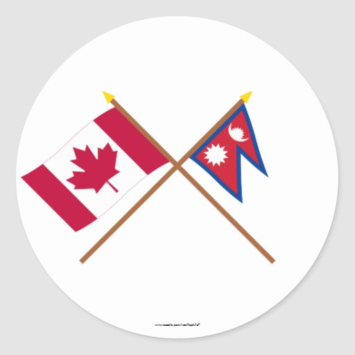 Canada and Nepal Crossed Flags Sticker