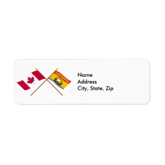 Canada and New Brunswick Crossed Flags Return Address Label