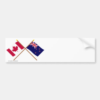 Canada and New Zealand Crossed Flags Bumper Sticker