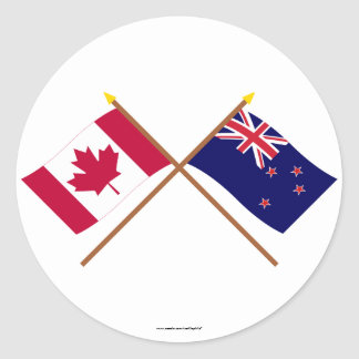 Canada and New Zealand Crossed Flags Stickers