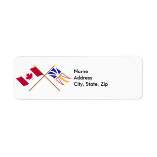 Canada and Newfoundland Crossed Flags Return Address Label