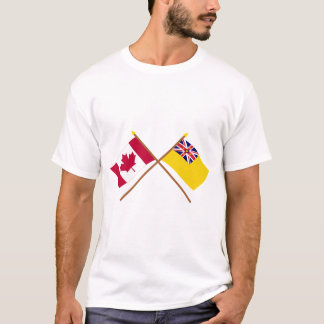 Canada and Niue Crossed Flags T-Shirt