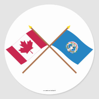 Canada and Northern Marianas Crossed Flags Sticker