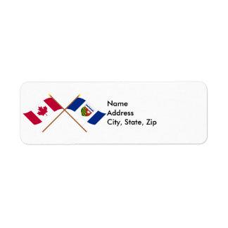 Canada and Northwest Territories Crossed Flags Return Address Label