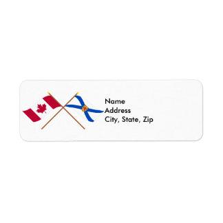 Canada and Nova Scotia Crossed Flags Custom Return Address Label
