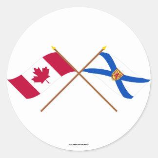 Canada and Nova Scotia Crossed Flags Round Stickers