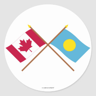 Canada and Palau Crossed Flags Round Sticker