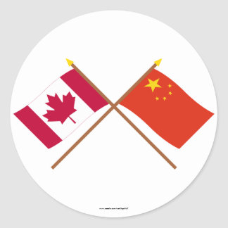 Canada and People's Republic of China Crossed Flag Classic Round Sticker
