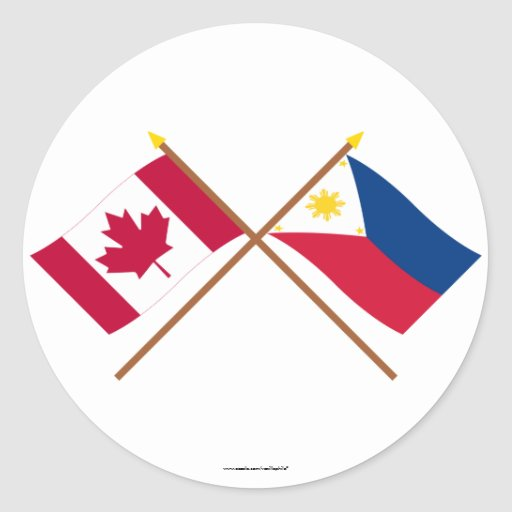 Canada and Philippines Crossed Flags Round Sticker