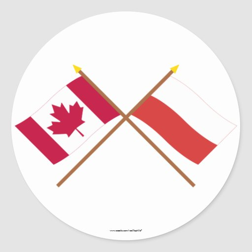 Canada and Poland Crossed Flags Round Stickers