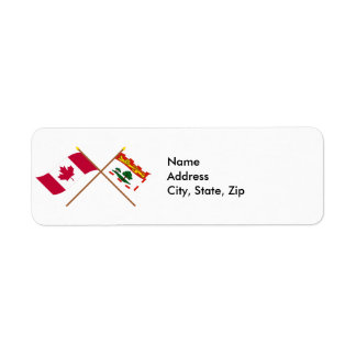 Canada and Prince Edward Island Crossed Flags Return Address Label