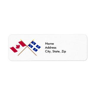 Canada and Québec Crossed Flags Custom Return Address Label