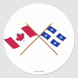 Canada and Quebec Crossed Flags Round Sticker