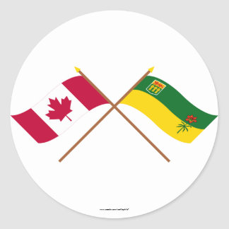 Canada and Saskatchewan Crossed Flags Classic Round Sticker