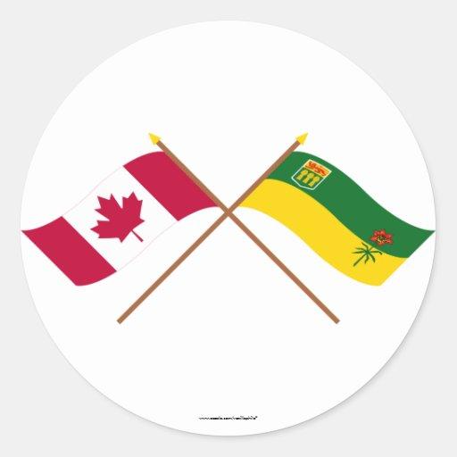 Canada and Saskatchewan Crossed Flags Round Sticker