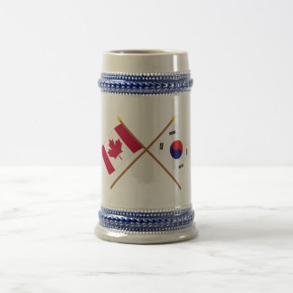 Canada and South Korea Crossed Flags Beer Stein