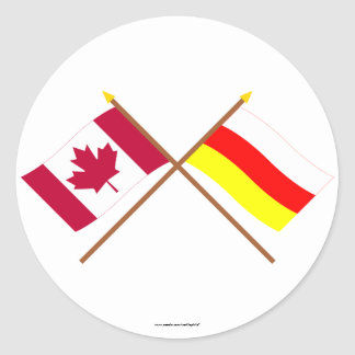 Canada and South Ossetia Crossed Flags Stickers