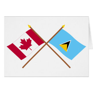 Canada and St Lucia Crossed Flags Card