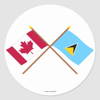 Canada and St Lucia Crossed Flags Round Sticker