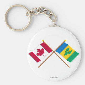 Canada and St Vincent Crossed Flags Basic Round Button Keychain