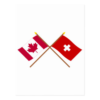 Canada and Switzerland Crossed Flags Post Card