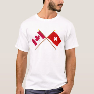 Canada and Switzerland Crossed Flags T-Shirt