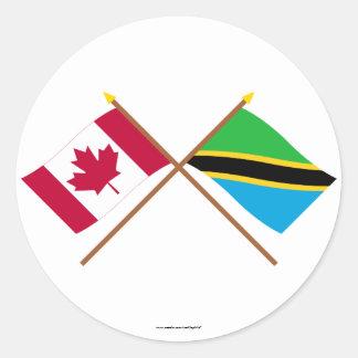 Canada and Tanzania Crossed Flags Sticker
