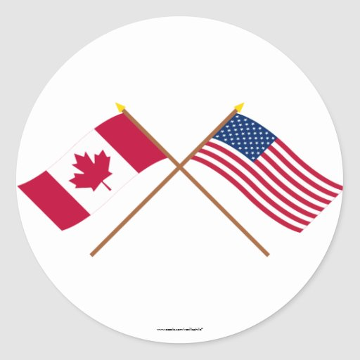 Canada and the United States Crossed Flags Round Sticker