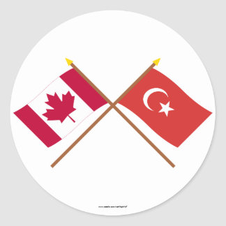 Canada and Turkey Crossed Flags Round Sticker