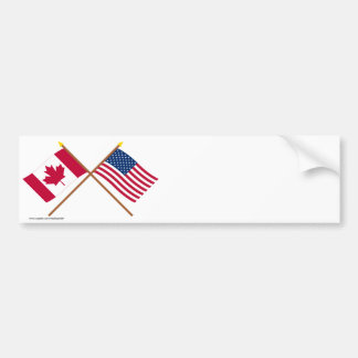 Canada and United States Crossed Flags Bumper Sticker