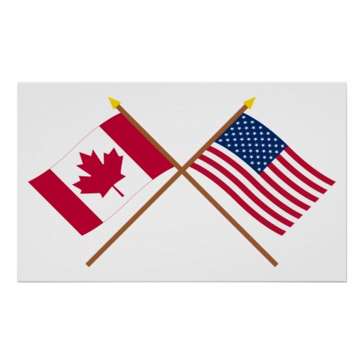 Canada and United States Crossed Flags Print