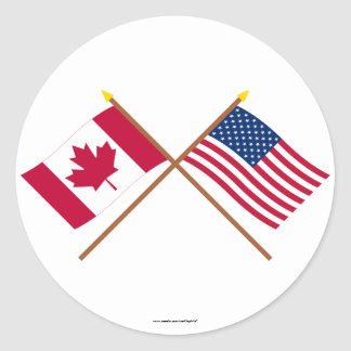 Canada and United States Crossed Flags Round Sticker