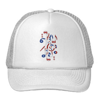 Canada and USA Flag Musical Notes Trucker Hat
