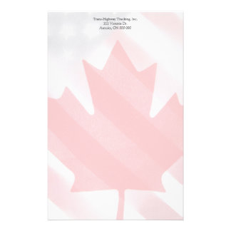 Canada and USA flags fade Stationery