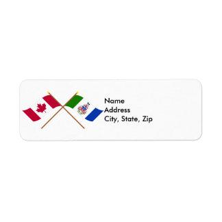 Canada and Yukon Territories Crossed Flags Custom Return Address Labels