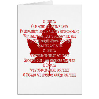 Canada Anthem Card Canada Card Personalized