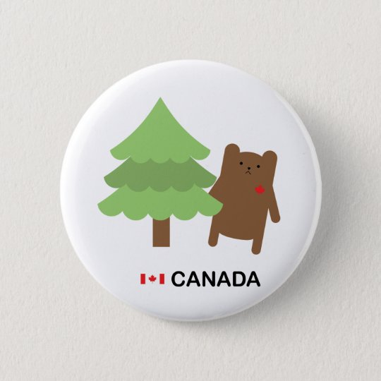 Canada bear 2 inch round button for Belly button bears wall mural