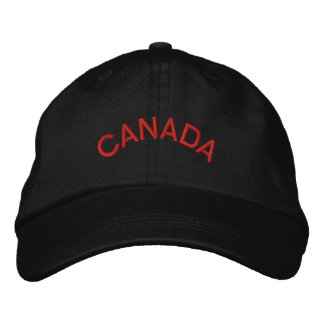 Canada Blk/Red Basic Adjustable Embroidered Cap Embroidered Hat