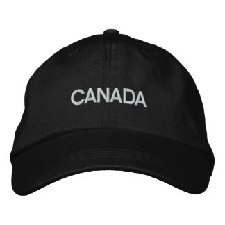 Canada Blk/White Basic Adjustable Embroidered Cap Embroidered Baseball Cap