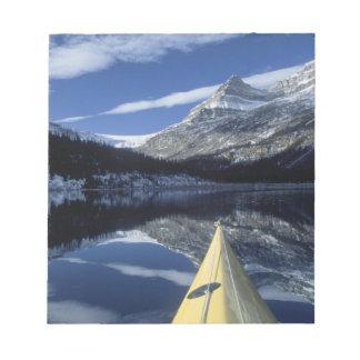 Canada, British Columbia, Banff. Kayak bow on Memo Notepad