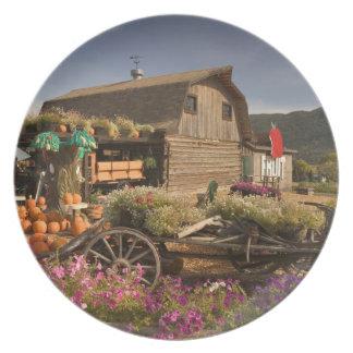 CANADA, British Columbia, Enderby. Log Barn Plate