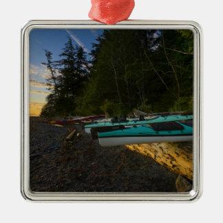 Canada, British Columbia, Vancouver Island, 2 Silver-Colored Square Ornament