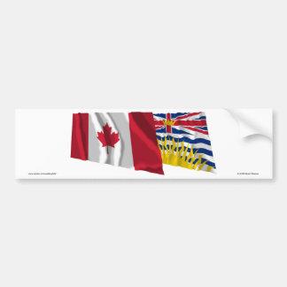 Canada & British Columbia Waving Flags Bumper Sticker