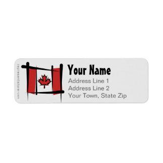 Canada Brush Flag Return Address Label
