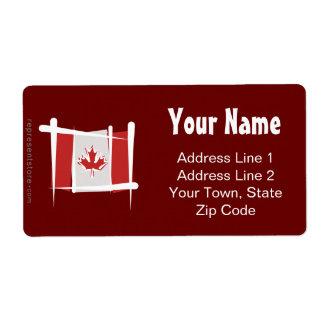 Canada Brush Flag Shipping Label