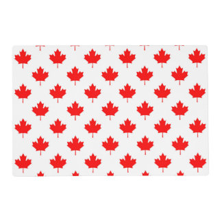 canada country flag symbol maple leaf pattern text laminated placemat