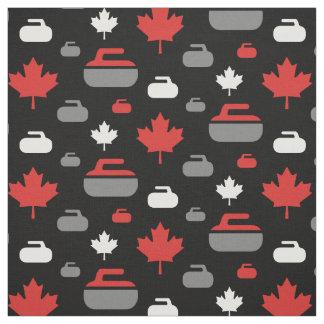 Canada Curling Rocks Fabric