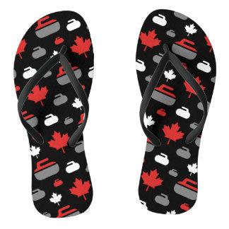 Canada Curling Rocks Flip Flops