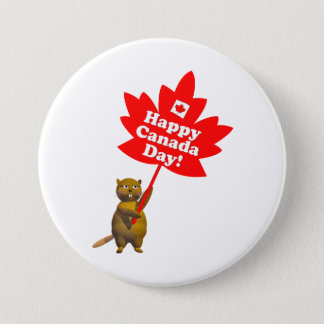 Canada Day Beaver and Maple Leaf 3 Inch Round Button